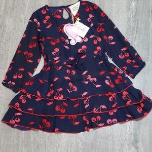 Mim-Pi beautiful navy & red cherries toddler dress